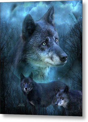 Blue Wolf Metal Print by Carol Cavalaris