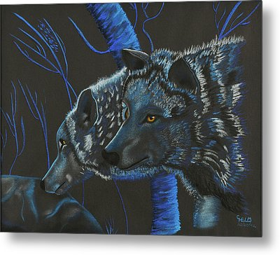 Blue Wolves Metal Print by Mayhem Mediums