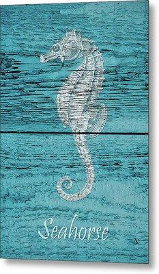 Blue Wood Seahorse Metal Print