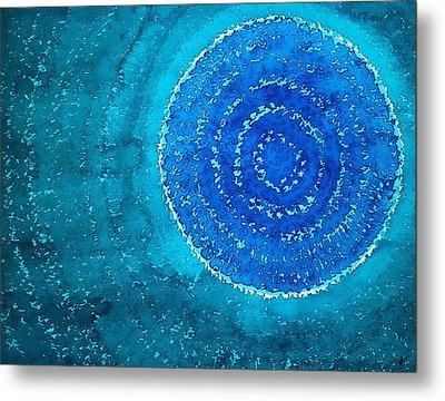 Blue World Original Painting Metal Print by Sol Luckman