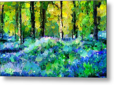Bluebells In The Forest - Abstract Metal Print