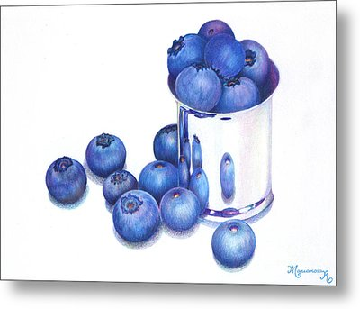 Blueberries And Silver Metal Print