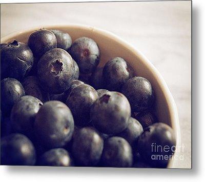 Blueberry Bowl Metal Print by Alison Sherrow
