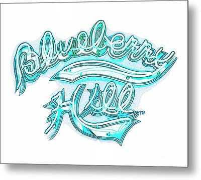 Blueberry Hill Inverted In Neon Blue Metal Print by Kelly Awad