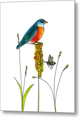 Bluebird And Bee Metal Print