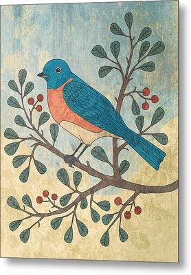 Bluebird And Berries Metal Print by Karyn Lewis Bonfiglio