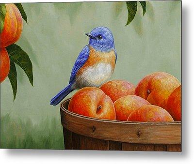 Bluebird And Peaches Greeting Card 3 Metal Print