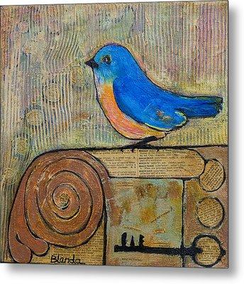 Bluebird Art - Knowledge Is Key Metal Print by Blenda Studio
