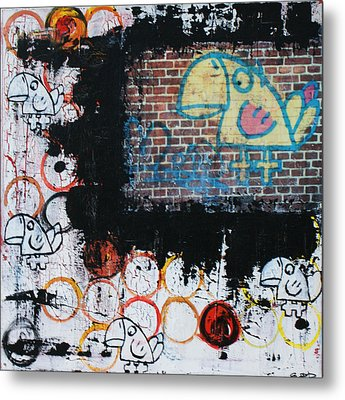 Bluebird-brickbird Metal Print by Sanne Rosenmay