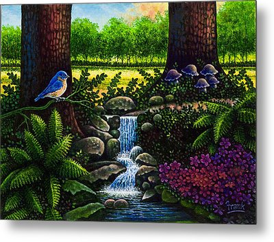 Metal Print featuring the painting Bluebird by Michael Frank