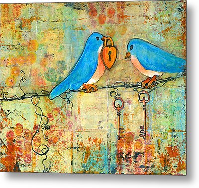 Bluebird Painting - Art Key To My Heart Metal Print by Blenda Studio