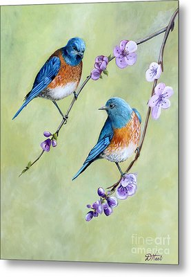 Bluebirds And Blossoms Metal Print by Debbie Hart
