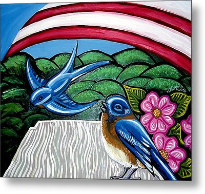 Bluebirds With Flag Metal Print