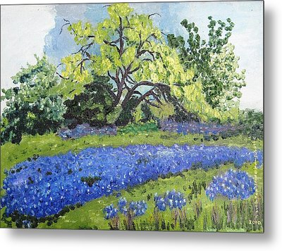 Bluebonnets On A Stormy Day Metal Print