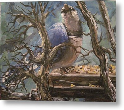 Metal Print featuring the painting Bluejay by Megan Walsh