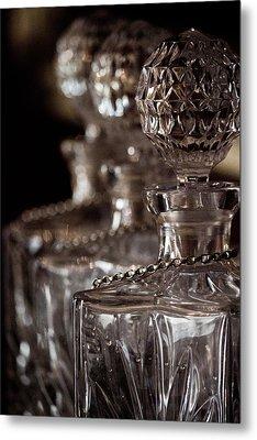 Blurred Bottles Metal Print by Mamie Thornbrue