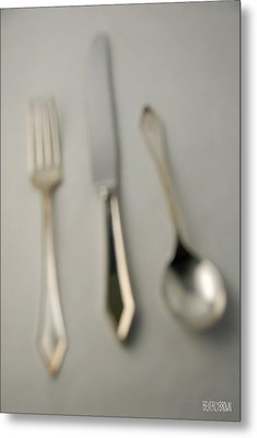 Blurry Silver Cutlery Metal Print by Beverly Brown