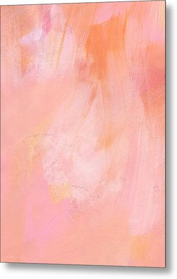 Blush- Abstract Painting In Pinks Metal Print by Linda Woods
