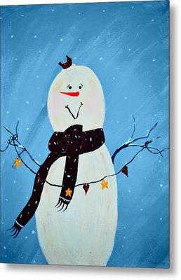 Blushing Snowman Metal Print by Chastity Hoff