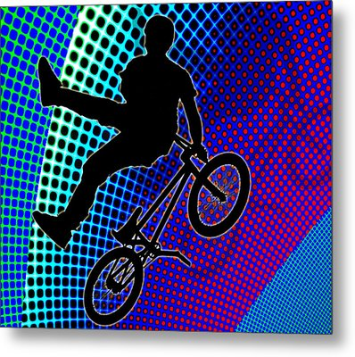 Bmx In Fractal Movie Marquee Metal Print by Elaine Plesser