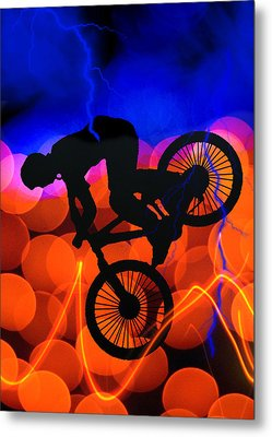 Bmx In Light Crystals And Lightning Metal Print