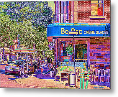 Bo Bec Creme Glacee Ice Cream Shop Laurier Montreal Springtime Cafe Scene By Carole Spandau Metal Print by Carole Spandau
