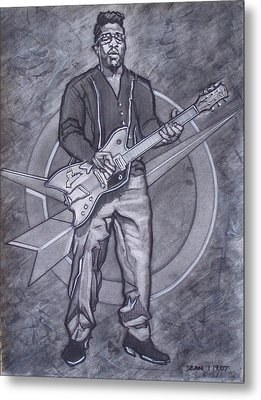 Bo Diddley - Have Guitar Will Travel Metal Print by Sean Connolly
