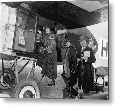 Boarding Fokker Airplane Metal Print by Underwood Archives