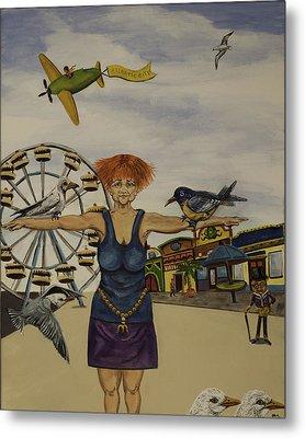 Boardwalk Birdwoman Metal Print by Susan Culver
