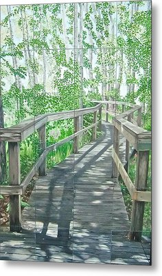 Metal Print featuring the painting Boardwalk by Bonnie Heather