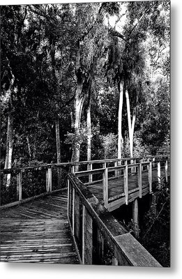 Boardwalk In Black And White Metal Print