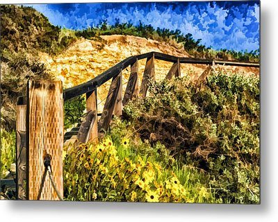 Metal Print featuring the painting Boardwalk Steps by Anthony Citro