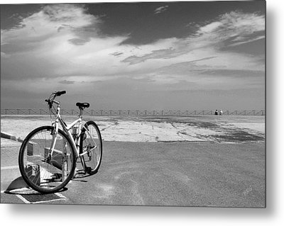 Boardwalk View With Bike In Antibes France Black And White Metal Print by Ben and Raisa Gertsberg