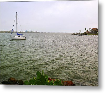 Boat And Catcus Metal Print