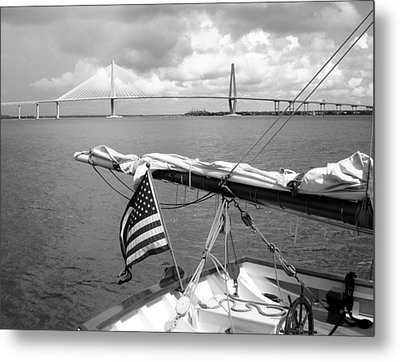 Metal Print featuring the photograph Boat And Charleston Bridge by Ellen Tully