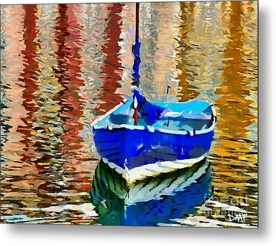 Boat And Reflections Metal Print