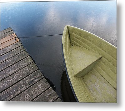 Boat And Wooden Pier - Quiet And Peaceful Scenery Metal Print by Matthias Hauser