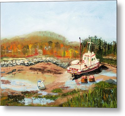 Boat At Bic Quebec Metal Print