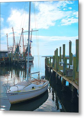 Boat At Dock By Jan Marvin Metal Print