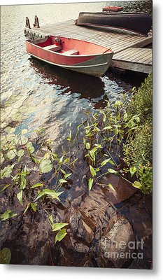 Boat At Dock  Metal Print by Elena Elisseeva