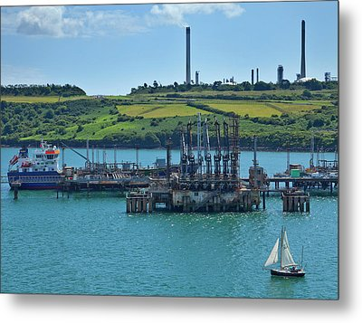 Boat At Refinary In Milford Haven Metal Print