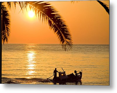 Boat At Sea Sunset Golden Color With Palm Metal Print by Raimond Klavins
