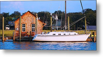 Boat At Shem Creek By Jan Marvin Metal Print