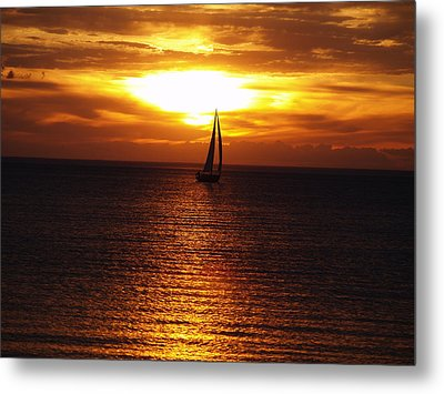 Boat At Sunset Metal Print by Susan Crossman Buscho