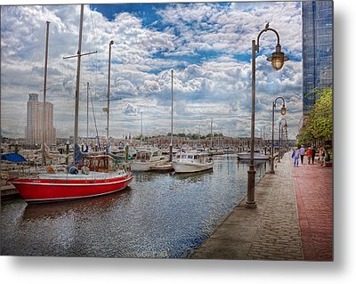 Boat - Baltimore Md - One Fine Day In Baltimore  Metal Print by Mike Savad