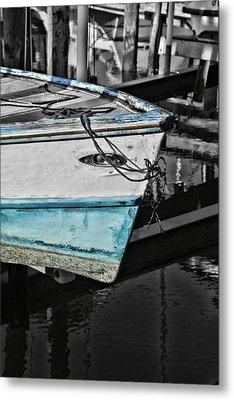 Boat Bow In Black White And Blue Metal Print by Lynn Jordan