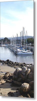 Boat Dock And Big Rocks Right Metal Print by Barbara Snyder