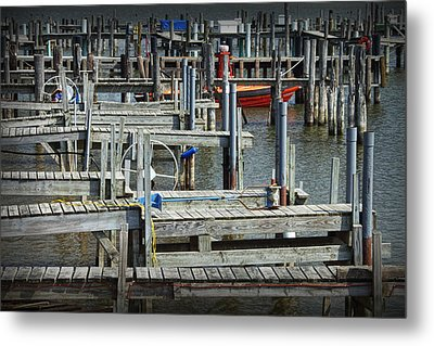 Boat Docks In Lake Macatawa Metal Print by Randall Nyhof
