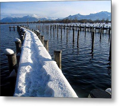 boat harbour at Lake Chiemsee in winter Metal Print