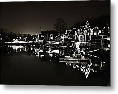 Boat House Row - In The Dark Of Night Metal Print by Bill Cannon